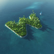 Island Alphabet. Paradise tropical island in form of letter W