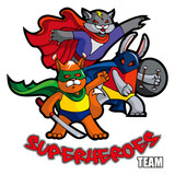 Funny animals superheroes, vector illustration