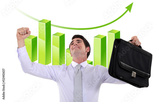 Businessman in front of chart