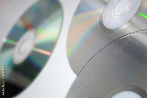 Compact disks on a white background