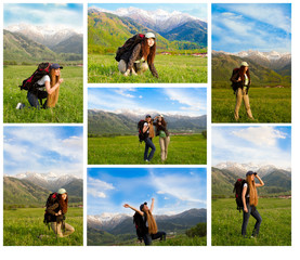 Collage of climber woman with backpack in  mountains in Akbulak