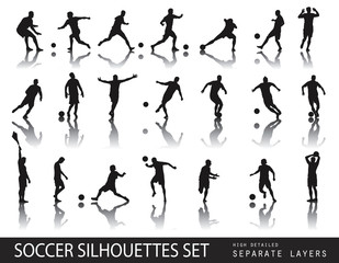 Soccer players detailed vector silhouettes set. Sports design