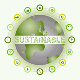 Sustainable world surrounded and made of bio eco icons poster