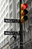Wall street and red traffic light, crysis symbol