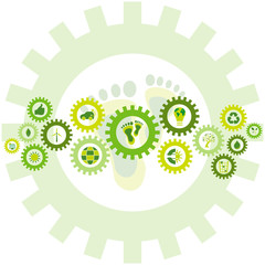 Chain of gear wheels filled with bio eco environmental icons and