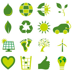 Set of bio eco environmental related icons and symbols