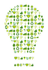 Light bulb filled with bio eco environmental icons and symbols