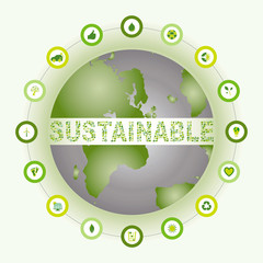 Sustainable world surrounded and made of bio eco icons