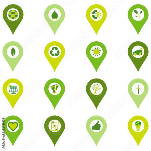 Set of pinpoint icons of bio eco environmental related symbols