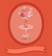 Gift card with roses flowers. Vector eps10