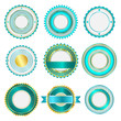 Set of badges, labels and stickers without text in turquoise