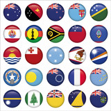 Set of Australian, Oceania Round Flag Icons