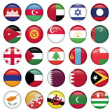 Asiatic Flags Round Buttons
