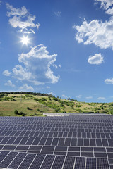 View of a solar photovoltaic cell panels under sunny sky, Macedo