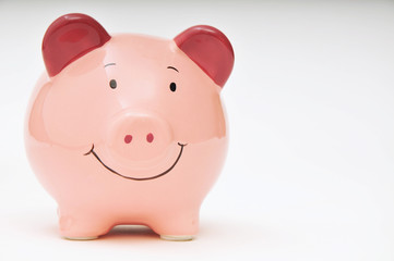 Smiling Pink Piggy Bank