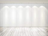 Fototapety white room with wood floor and lamps