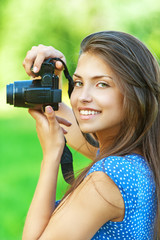 portrait young charming woman camera