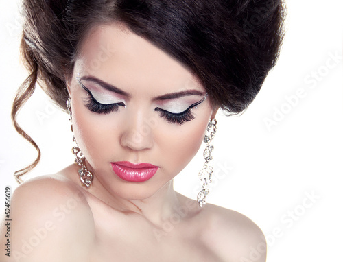 Fashion Girl Portrait. Eyeshadow Makeup. Hairstyle. Isolated on