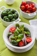 Delicious Greek salad with green olives