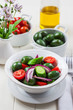 Greek salad with green olives