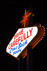 Famous Leaving Las Vegas sign at night