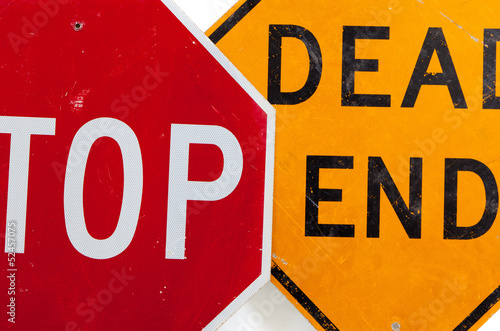 Stop sign and dead end sign on a white background