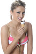 Model Released. Young Woman Eating Ice Cream Cornet