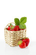 Fresh, red strawberries in basket
