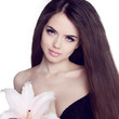 Hair. Beautiful Brunette Girl. Healthy Long Hair. Beauty Model W