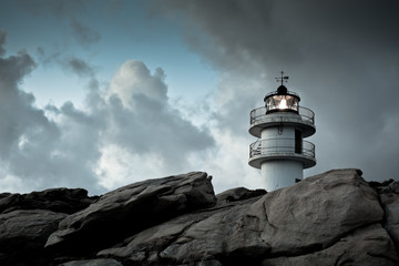Working Lighthouse at Northern Spain in Bad Weather