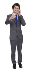 Business Man Talking On Phone Showing Thumb Up Sign