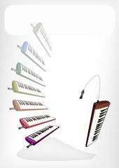 Colorful Musical Melodica with A White Banner