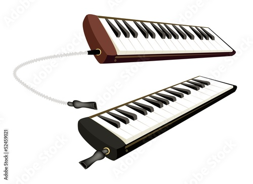 Two Musical Melodica Isolated on White Background