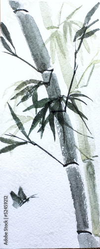 asian bamboo watercolor