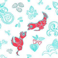 Chickens, love, flowers.Seamless