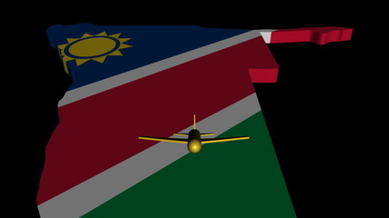 Plane taking off from Namibia map flag animation