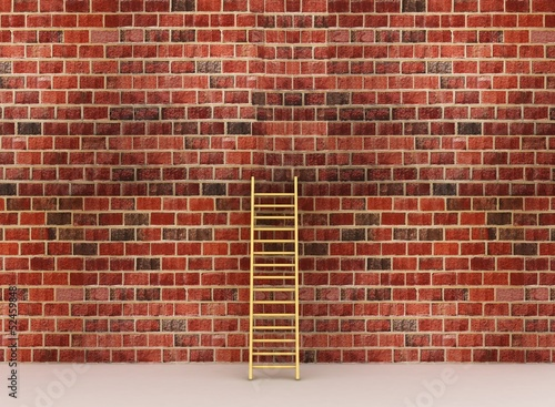 3d illustration of a ladder against near old wall