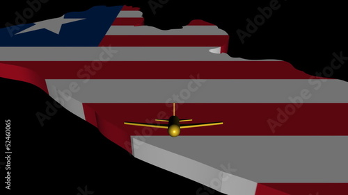 Plane taking off from Liberia map flag animation