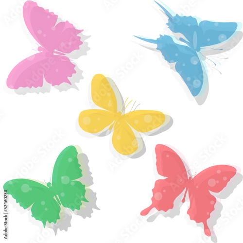 Colorful transparent butterflies