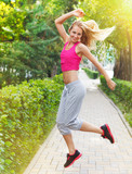 Sport fitness young woman jogging during outdoor workout