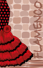 Spanish flamenco holiday card, vector illustration