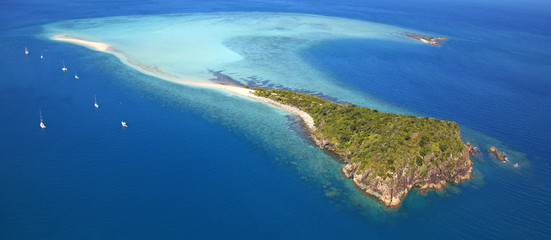 Aerial panorama of exotic remote island