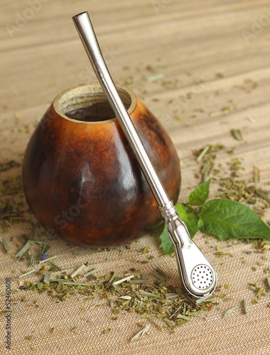 Calabash with yerba mate tea, close-up