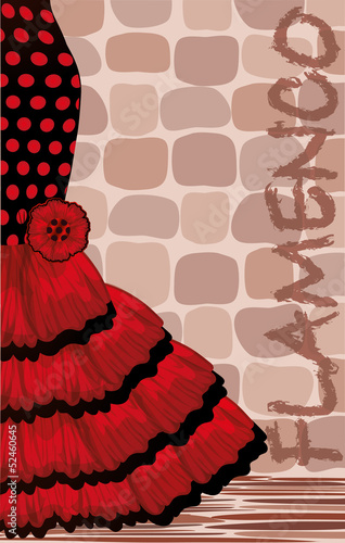 Spanish flamenco holiday card, vector illustration