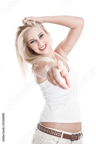 Glückliches junges Mädchen - blond und isoliert