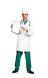 Portrait of doctor with health record on white background