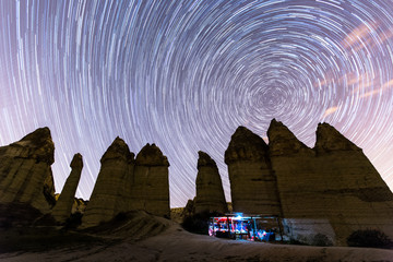 cave house with star trials at cappadocia Turkey