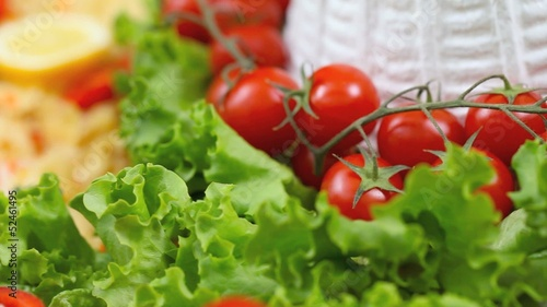 Ricotta cheese cherry tomatoes and lettuce