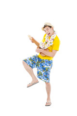 young man playing ukulele and singing