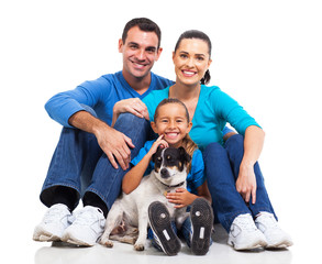 family and pet dog